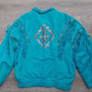 VINTAGE Teal Leather Jacket W/ Fringe S